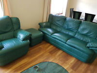 *Sterling ORIGINAL* leather Sofa Suite for Sale! 3 Seater, Single Seater & Footstool £200