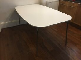 IKEA 50s Style Kitchen Table, White and Chrome (Used)