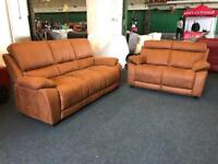Harvey's Westchester tan saddle brown 3 and 2 seater sofa set faux suede fabric three plus two