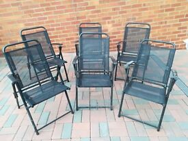 Black Glass Table and Six Chairs