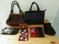 Collection of genuine leather hand bags,purses,gloves and laptop/music bag.