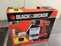 Black & Decker 18V cordless drill case bits and boxed