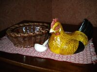 """Ceramic """"Hen on Nest"""" Egg Basket withSpoon. Made in France and in mint condition."""
