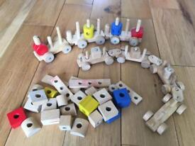 Ikea Wooden Linking Cars Toy