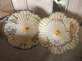 Two Japanese paper brollies umbrellas