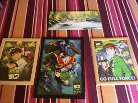 Canvas and 3 ben10 pictures