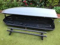 Halfords 360L Grey Roof Box, with bars Used VGC,