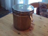 Stainless steel thick lidded pan / canister / container with clasp