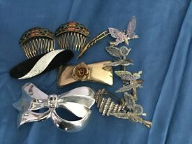 Hair clips and combs, vintage