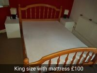 King size Wooden Bed with memory foam Mattress
