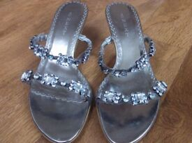 Next size 4 muted silver sandals