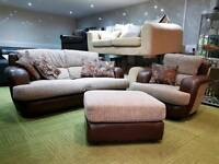 Stunning brown and cream suite 3 seater sofa, armchair and pouffee