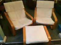 Ikea poang chairs & footstool