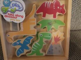 Grow & Play Take Along Dinosaur Wooden Play Set. Brand new and unopened.
