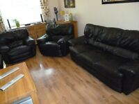 Black italian leather 3 piece suite 3 seater sofa and 2 chairs cost a fortune new