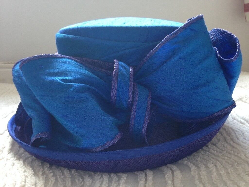 Beautiful blue Victoria Ann wedding hat.