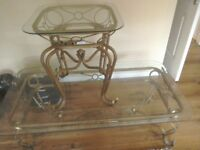 Wrought iron and glass coffee and side table. FREE