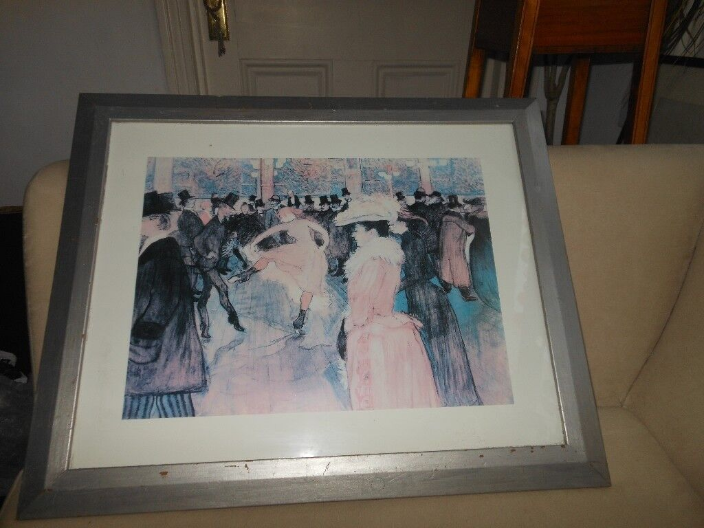 Lovely Large Toulouse Lautrec Painting Print Shabby Chic Frame