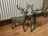 2 x light wood carved deer with antlers - Happy to negotiate price