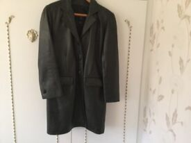 Gents black leather coat size medium