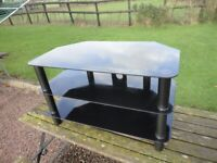 LOVELY BLACK GLASS TV HI-FI STAND AS NEW