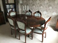 Lovely marquetry inlaid dining table 4 side chairs & 2 carvers (candelabra not included :O)