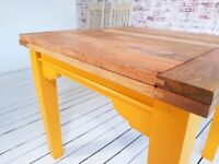 Tapered Leg Extending Farmhouse Dining Table to Seat Eight People - Modern Rustic Style