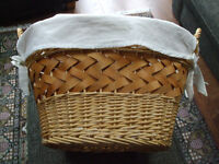 VERY NICE LINED WICKER LAUNDRY BASKET, as new