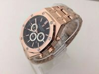 New Swiss Audemars Piguet AP Royal Oak Rose Gold Automatic Watch, See Through back