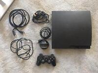 PS3 Slim with controller and all cables