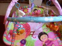 Just4Baby Arched playmat with 5 toys Some rattle some squeak All washable