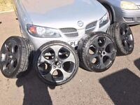 VW GOLF GTI MONZA BLACK ALLOY WHEELS WITH TYRES 5x112