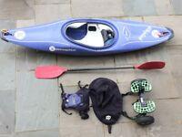 Perception Whiplash junior Kayak with splash deck, paddle, trolley and life jacket