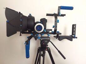 Pro DSLR Rig Set Movie Kit Shoulder Mount Rig + Follow Focus + Matte Box