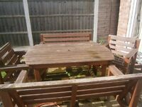 Garden Table, Benches and Chairs