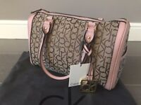 Genuine Calvin Klein Signature Logo Jacquard Bag | Brown Blush Gold