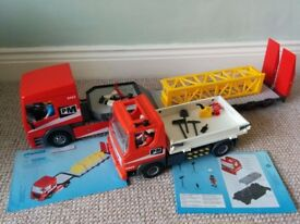 Playmobil 5467 Heavy Duty Flatbed Trailer and 5283 City Action Flatbed Construction Truck playmobile