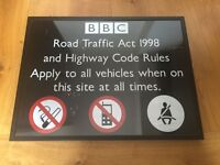 RARE BBC TELEVISION CENTRE METAL SIGN - HIGHLY COLLECTABLE