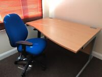 Beech Wood Office Desk With Office Chair - Excellent Condition