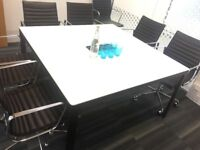 Meeting Room Table/Conference Table/ Private Office/ Meeting Room/ Bekant/ Black and White