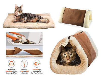 2 In 1 Self Heating Pet Tunnel Bed Mat Cat Dog Portable Warm Winter for Pet Cats