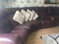 DFS Italian real leather 4 seater curved reclining sofa with matching arm chair