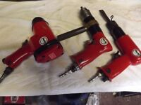One air drill, one Air chisel, one air spanner. all in very good condition, (little used)