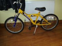 Boys six speed Mountain Bicycle, Yellow Frame with Blue sprung front forks