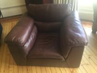 Brown leather armchair, good condition, very comfy