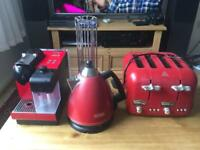 Delonghi nespresso coffee machine, kettle and toaster in red