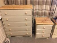 Shabby chic chest of draws and bed side table