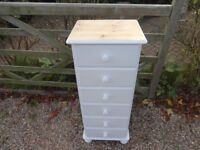 SOLID PINE TALLBOY CHEST OF DRAWERS --6 DRAWER--PAINTED WHITE --TOP SANDED + WAXED --