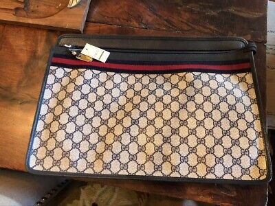 Gucci vintage portfolio blue and white briefcase, messenger bag