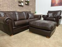 Duresta 3 seater sofa armchair and footstool